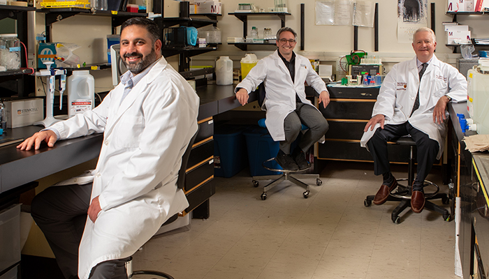 Scientific directors of the McMaster Platelet Immunology Laboratory: Ishac Nazy, Donald Arnold, and John Kelton.