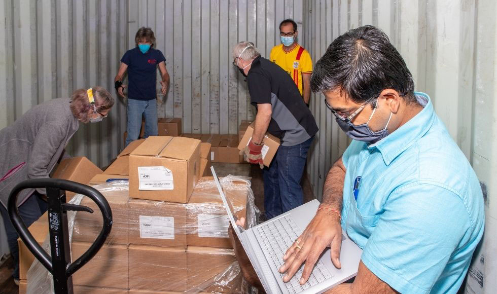 PPE and other gear is gathered to ship to Uganda